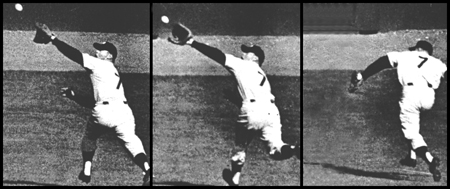 3-panel view of Mickey Mantle's game-saving backhanded catch of Gil Hodges line drive bid for extra bases, saving Don Larsen's perfect game in the 1956 World Series against the Brooklyn Dodgers at Yankee Stadium