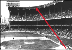 The path of Mickey's tremendous home run blast of Kansas City's Mo Burtschy on May 5, 1956. It's the first of Mickey's façade shots at Yankee Stadium.
