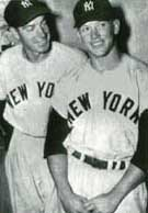 Mickey Mantle with Joe DiMaggio in 1951, Mickey's rookie season with the Yankees.