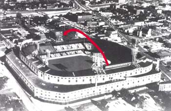 Diagram of Mickey Mantle's 643-foot home run over the roof of Detroit's Tiger Stadium. Mickey hit it left-handed off Tigers' pitcher Paul Foytack.