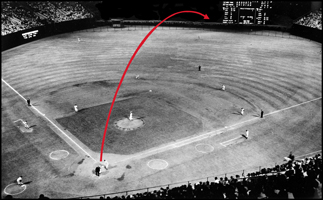 Diagram of Mickey Mantle home run out of Baltimore's Memorial Stadium hit on Aug. 10, 1957. It was the first ball to ever clear the hedge behind the centerfield fence and go out of the park. Distance: 540 feet!