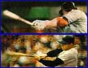 Mickey Mantle and Mark McGwire's home run swings are illustrated on above the other