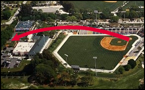 Diagram of Mickey Mantle's home run out of Dodgertown in Vero Beach, FL on March 20, 1961.