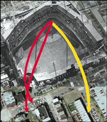 Aerial diagram of Mickey Mantle's three mammoth home runs at Griffith Stadium in Washington. One went 565-feet on April 17, 1953 (yellow arrow). Two (red arrows) each went over 500 feet on Opening Day, April 17, 1956.