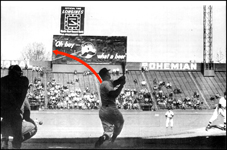 Diagram showing the path of Mickey Mantle's 565-foot home run hit at Griffith Stadium in Washington on April 17, 1953. Picture shows Mickey batting left-handed but he actually batted right-handed.