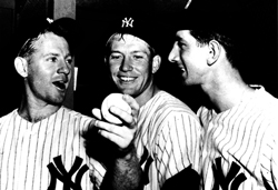 Best friends Whitey Ford, Mickey Mantle and Billy Martin in the Yankees clubhouse after Mickey hit yet another home run to win a game for Whitey and the New York Yankees.