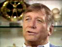 Close-up of Mickey Mantle telling his life story for his award winning program Mickey Mantle: The American Dream Comes To Life while sitting in his trophy room in his home in Dallas, Texas in 1988