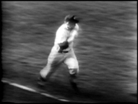 Mickey Mantle was known for his incredible speed. The Mick is a blur in this photo as he beats out a single. Mickey could run from home to first in 3.1 seconds - in 2.9 seconds on a left-handed drag bunt! He was one of the fastest players ever.