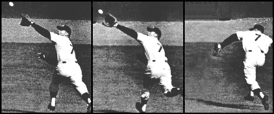 Mickey Mantle's spectacular game-saving back-handed catch made in Don Larsen's perfect game in the 1956 World Series. Mickey also homered for the Yankees first run.