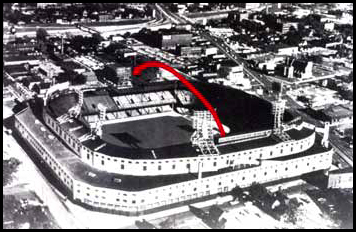 Diagram of Mickey Mantle's home runs hit out of Tiger Stadium in Detroit on  June 18, 1956 and Sept. 17, 1958. Both ball went completely out of the park!